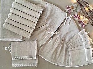 Úžitkový textil - Súprava z ručne tkaného ľanu - 7320587_
