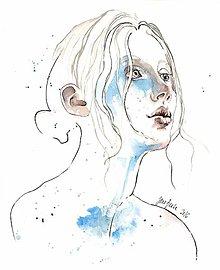 Obrazy - Modrá, akvarel - 7317390_