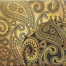 Papier - S869 - Servítky - paisley, ornament, zlato, guľa - 7327318_