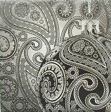 Papier - S870 - Servítky - paisley, ornament, striebro,guľa - 7327338_