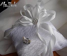 Prstene - ivory svadobný vankúšik na prstienky - 7324781_