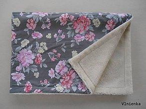 Úžitkový textil - Deka / prikrývka Shabby chic a Vintage RUŽE šedé - 7327014_