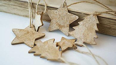 Dekorácie - Sada drevených vianočných ozdôb 6 ks - 7323539_