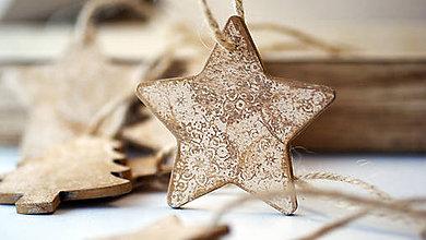 Dekorácie - Drevená hviezda, vianočná ozdoba - 7323659_