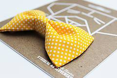Pre zvieratká - Motýlik - na obojok pre psíka - žltý s malými bodkami - 7322498_