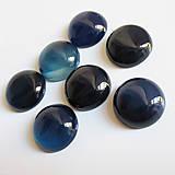- Brazílsky achát tmavá modrá / kabošon kruh 15mm - 7325153_
