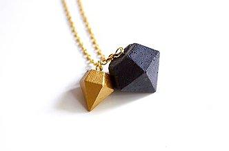 Náhrdelníky - Betónové diamanty duo black & gold - 7324049_