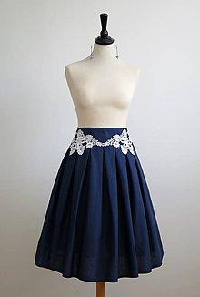 Sukne - modrá sukňa s čipkou - 7326433_