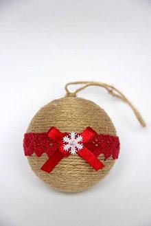 Dekorácie - Vianočné gule bordová čipka - 7324117_