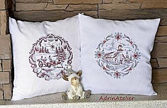 Úžitkový textil - vyšívané vankúše -vianoce - 7325311_