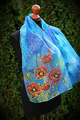 Šály - Hodvábny maľovaný šál s makmi... - 7323083_