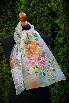 Šály - Hodvábny maľovaný šál s ružami... - 7323140_