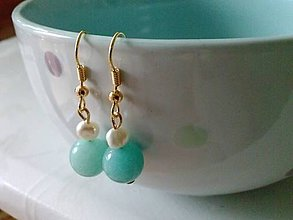 Náušnice - Amazonit s riečnou perlou v pozlátených háčikoch - 7323698_