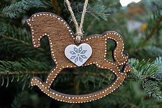 Dekorácie - Sada drevených vianočných ozdôb - 7326070_