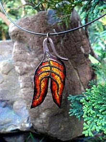 Náhrdelníky - Žltooranžovočervený kovaný jesenný list - 7327671_