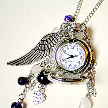 Náhrdelníky - Angel Wings Pocket Watches Pendant / Náhrdelník s hodinkami, príveskami a minerálmi - 7330326_