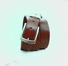 Doplnky - Opasek hnědý s kovovým poutkem - 7328308_