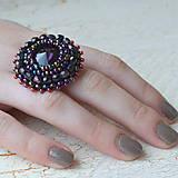 - Purple Velvet - vyšívaný prsten - 7329209_