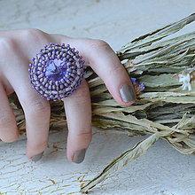 Prstene - Provence Lavender - vyšívaný prsten - 7329173_