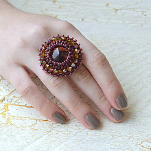 Prstene - Burgundy - vyšívaný prsten - 7329255_