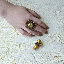 Prstene - Sunflower - vyšívaný prsten - 7329276_