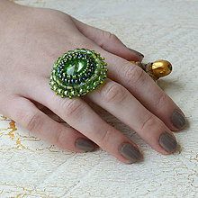 Prstene - Peridot - vyšívaný prsten - 7329804_