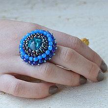 Prstene - Bermuda Blue - vyšívaný prsten - 7329829_
