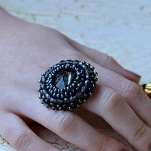 Prstene - Silver Night- vyšívaný prsten - 7329847_