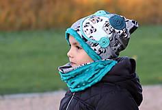 Detské čiapky - Petrolejový set - BIO bavlna - 7328324_