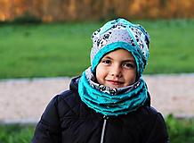 Detské čiapky - Petrolejový set - BIO bavlna - 7328329_