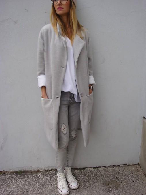 Kabáty - : sivý  OVERSIZE  kabát : - 7327884_