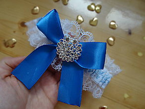 Bielizeň/Plavky - modrý folklórny podväzok - 7329674_