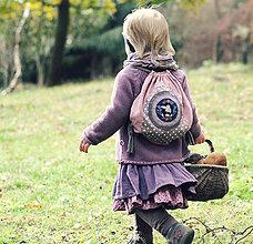 Detské tašky - Lněný batůžek Sova - 7331321_
