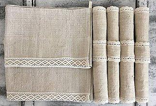 Úžitkový textil - Súprava z ručne tkaného ľanu - 7327827_