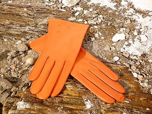 Oranžové dámské kožené rukavice s hedvábnou podšívkou - celoroční