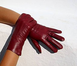 Rukavice - Bordó dámské kožené rukavice s hedvábnou podšívkou - celoroční - 7329748_