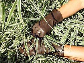 Rukavice - Hnědé dámské kožené rukavice s hedvábnou podšívkou - celoroční - 7329767_