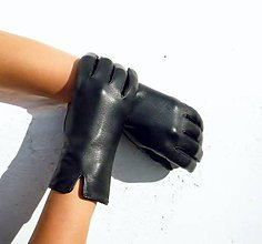 Rukavice - Černé  dámské kožené rukavice bezpodšívkové - 7329801_