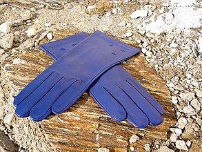 Rukavice - Modré dámské kožené rukavice s hedvábnou podšívkou - celoroční - 7330055_