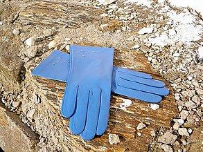 Rukavice - Světlemodré dámské kožené rukavice s hedvábnou podšívkou - celoroční - 7330065_