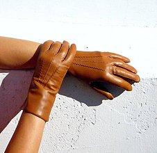 Rukavice - Rezavé dámské kožené rukavice s vlněnou podšívkou - vel 8 - 8 1/2 - 7330115_