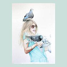 Obrazy - Zákaz krmení holubů! - originál, velký akvarel - 7329659_