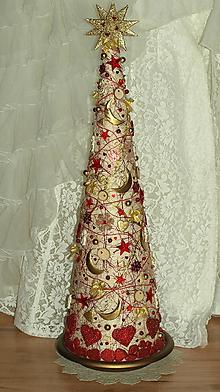 Dekorácie - Vianočný stromček biela+zlatá+červená - 7332661_