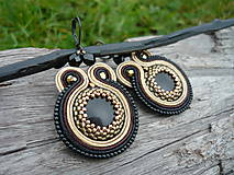Náušnice - Soutache náušnice Dark Chocolate with gold - 7333765_