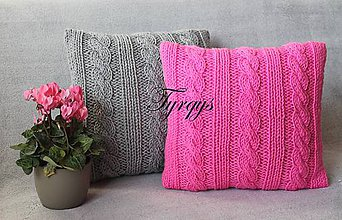 Úžitkový textil - Vankúš svetlosivý a ružový - 7333682_