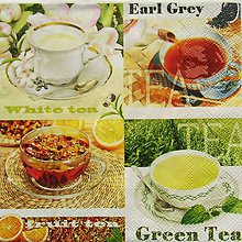 Papier - S874 - Servítky - čaj, green tea, earl grey - 7334003_
