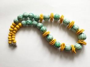 Náhrdelníky - zelenožltý náhrdelník - 7333605_