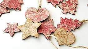 Dekorácie - Sada drevených vianočných ozdôb 6 ks - 7334864_