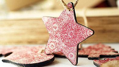 Dekorácie - Drevená hviezda, vianočná ozdoba - 7334805_