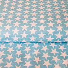 Textil - tyrkysové hviezdy, 100 % bavlna, šírka 160 cm, cena za 0,5 m - 7334559_